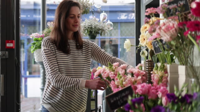 Florist working in store