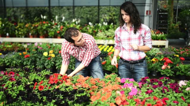 Florists owner arranging flowers