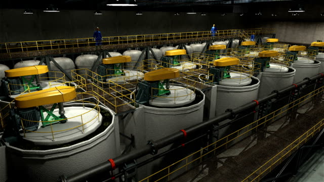 flotation, mineral processing plant, flotation stages, flotation equipment, flotation columns, flotation cells, froth flotation, mining - plant process stock videos & royalty-free footage