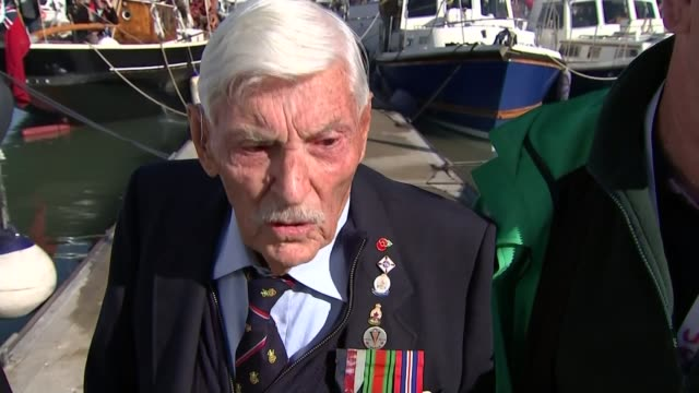 stockvideo's en b-roll-footage met wwii flotilla of 'little ships' marks 75th anniversary of dunkirk rescue england kent ramsgate ext wwii dunkirk veterans mike bentall and garth... - ramsgate