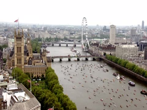 flotilla passing by the houses of parliament during the diamond jubilee pageant - beauty contest stock videos and b-roll footage