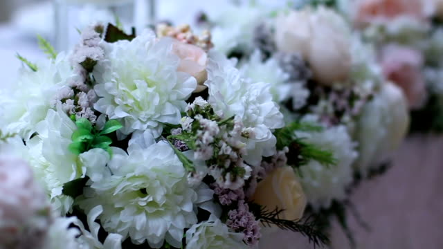Flower arrangement at wedding reception