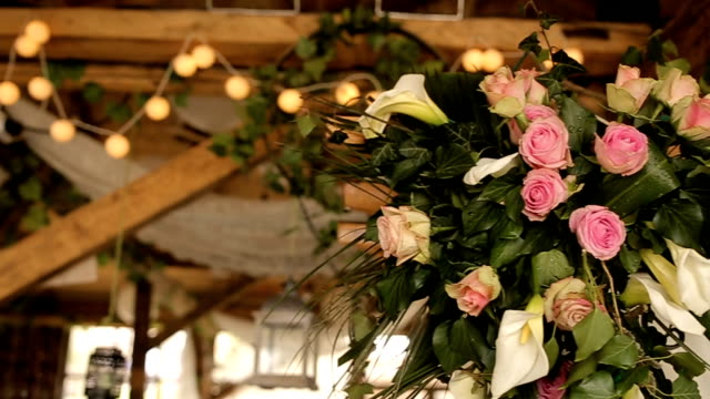 flower decoration on the wedding party - rustic stock videos & royalty-free footage