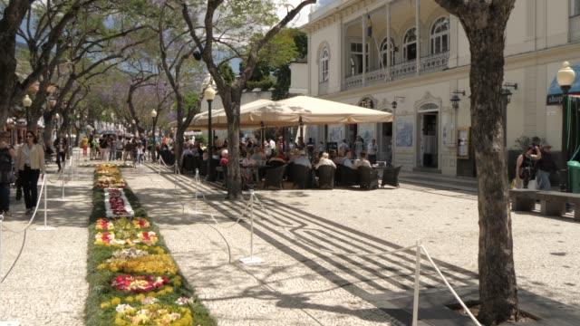 flower festival and al fresco restaurants on avenue arriaga, funchal, madeira, portugal, atlantic, europe - ポルトガル点の映像素材/bロール