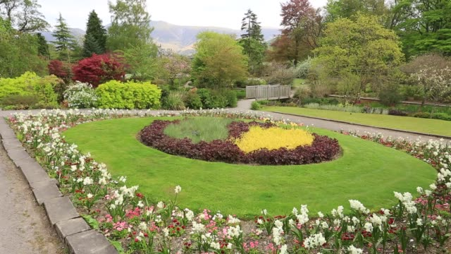 Flower gardens in Hope Park, Keswick town, Lake District National Park, Cumbria, England.