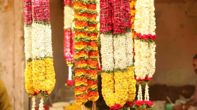 Flower Garlands at an Indian street Flower-Stall