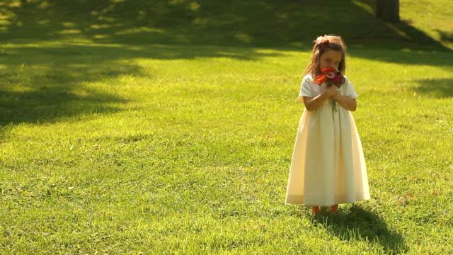 streukind sways im gras - weibliches baby stock-videos und b-roll-filmmaterial