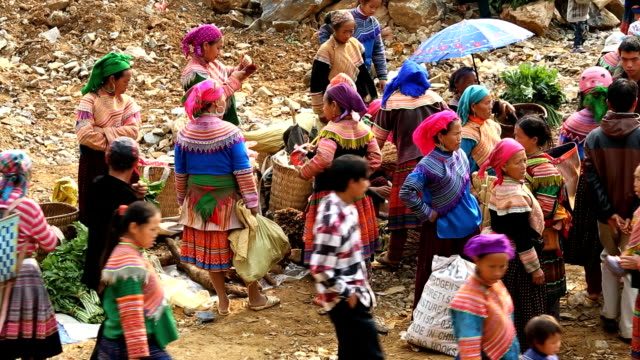 Flower Hmong hill tribe people market nr Bac Ha North Vietnam