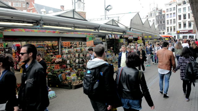 flower market, amsterdam - large group of people stock videos & royalty-free footage