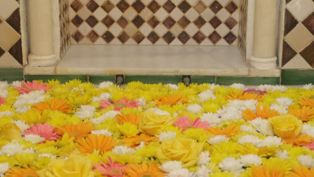 tu flower-covered fountain and niche with moorish tiles and arabesque relief (stone carving) - relief carving stock videos & royalty-free footage