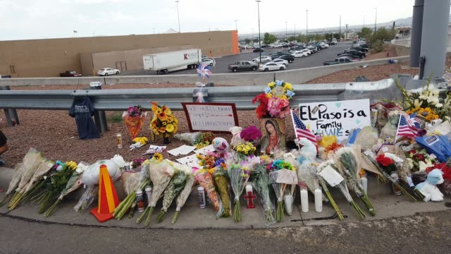 stockvideo's en b-roll-footage met flowers and mementos are seen at a makeshift memorial outside walmart, near the scene of a mass shooting which left at least 20 people dead, on... - gedenkteken