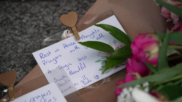 flowers and messages left for the victims of the plymouth shootings - monument stock videos & royalty-free footage