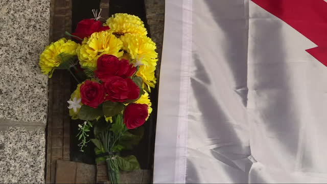 flowers and spanish flags at franco's tomb in mingorrubio cemetery where the remains of dictator francisco franco were transferred one year ago.... - crypt stock videos & royalty-free footage