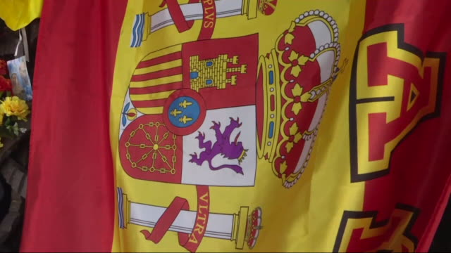 stockvideo's en b-roll-footage met flowers and spanish flags at franco's tomb in mingorrubio cemetery where the remains of dictator francisco franco were transferred one year ago.... - pardo
