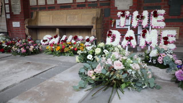 flowers and tributes laid at the funeral of dame barbara windsor at golders green crematorium on january 08, 2021 in london, england. actress dame... - carefree stock videos & royalty-free footage
