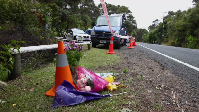 flowers are left in a tribute to grace millane in the area her body was found - missing persons stock videos & royalty-free footage