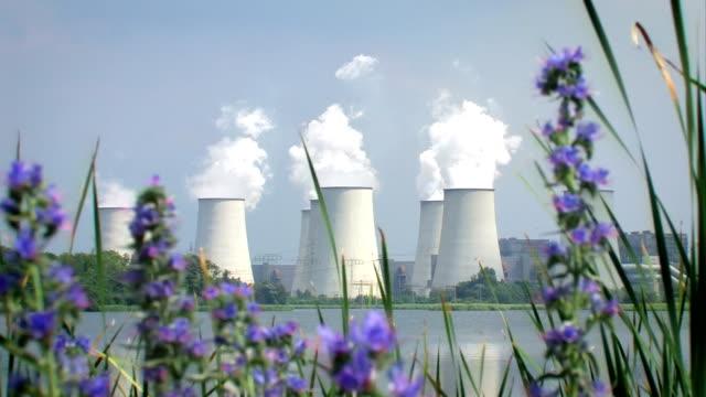 stockvideo's en b-roll-footage met flowers in front of a power plant - watervorm