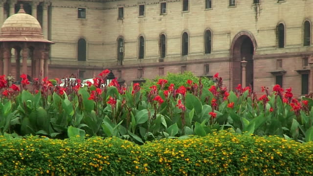 cu zo ws flowers outside indian parliament building, delhi, india - parliament building stock videos & royalty-free footage
