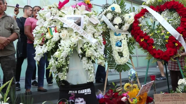 flowers placed on the hollywood walk of fame star of mexican singer/songwriter juan gabriel on august 29, 2016 in hollywood, california. - songwriter stock videos & royalty-free footage