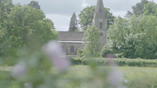 MS TU R/F Flowers swaying and trees in domestic garden with church / Northamptonshire, England, United Kingdom