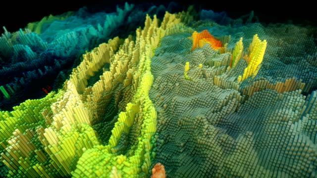 vidéos et rushes de cubes abstraits colorés fluides fond animé - pixellisation
