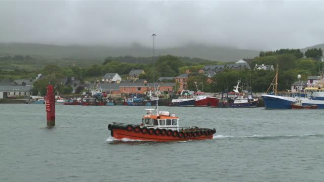 ms flowing fishing boat on ocean / casteltownbere,  county cork, ireland - county cork stock videos & royalty-free footage