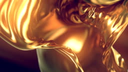 Flowing Gold Cloth abstract background animation. 3d rendering.