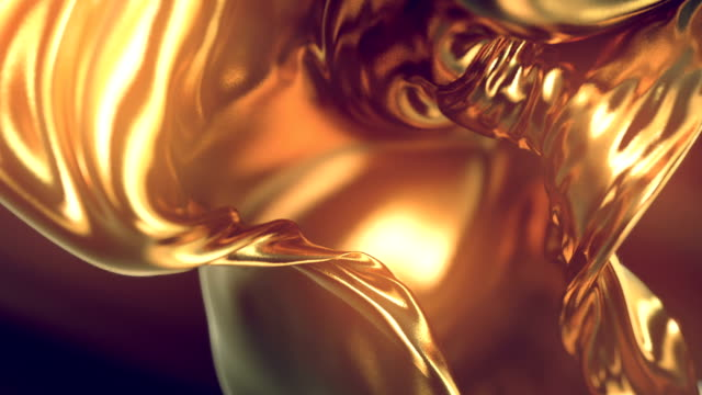 flowing gold cloth abstract background animation. 3d rendering. - materiale video stock e b–roll
