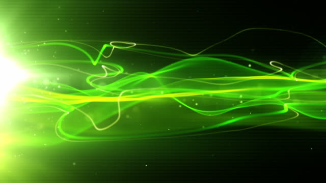 flowing light streaks background loop - neon green (full hd) - blurred motion stock videos & royalty-free footage