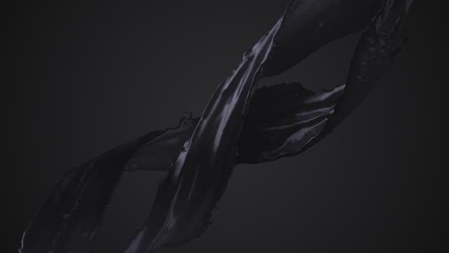 flowing paint - black - liquid, dark, creativity - satin stock videos & royalty-free footage