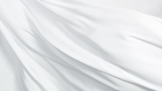 flowing silky white jersey fabric background, closeup - morbidezza video stock e b–roll