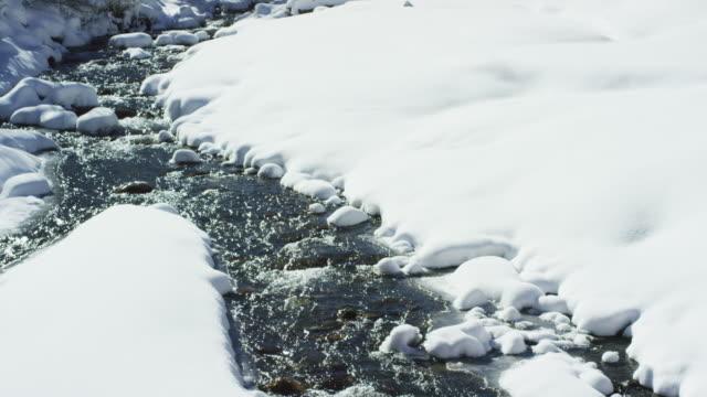 流れるストリームは、晴れた日に冬の雪の風景をカットします。 - ユアレイ市点の映像素材/bロール