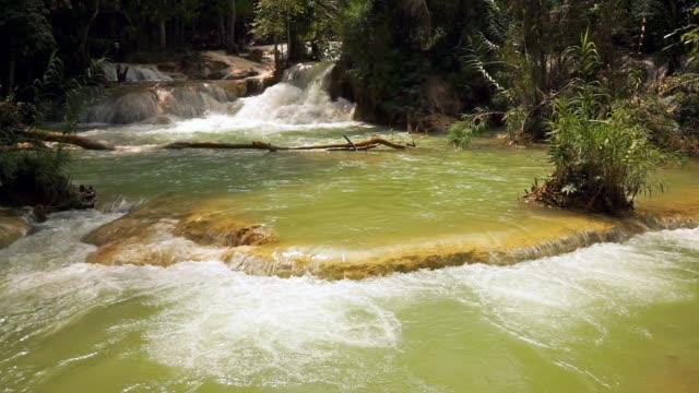 クァンの滝で流れる水、ルアンパバーン、ラオス