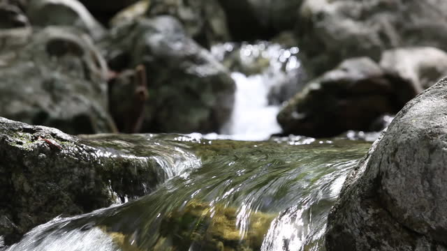flowing water in valley / wonju-si, gangwon-do, south korea - falling water stock videos & royalty-free footage