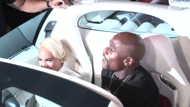 floyd mayweather & doralie medina in bugatti veyron departing bet after party at playhouse in hollywood in celebrity sightings in los angeles, - playhouse stock videos & royalty-free footage