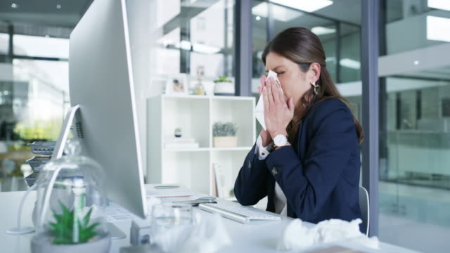 flu and fatigue go hand in hand - employment issues stock videos & royalty-free footage