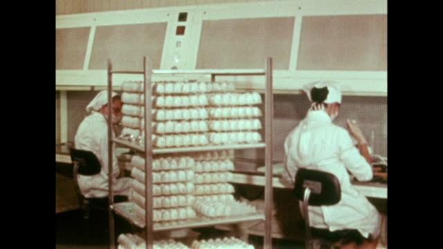 flu vaccines being created in laboratory using eggs; 1973 - manufacturing stock videos & royalty-free footage