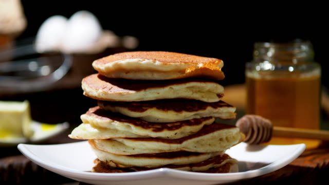 fluffy pancakes - pancake stock videos & royalty-free footage