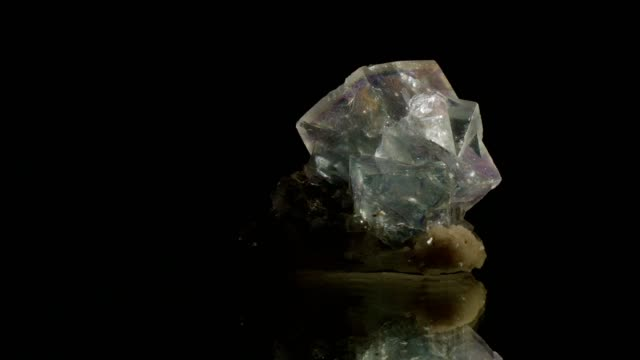 fluorit crystal turning on black - mineral stock videos & royalty-free footage