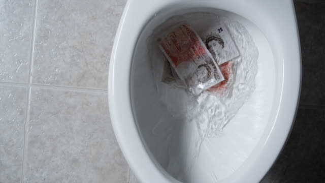 vídeos de stock e filmes b-roll de flushing money down the toilet - devaluation