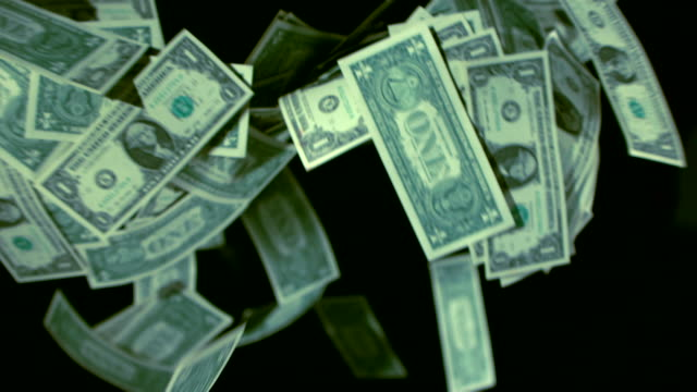fluttering dollar bills in the air - valuta video stock e b–roll