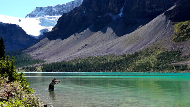 fly fishing in a glacier fed lake - fly fishing stock videos and b-roll footage
