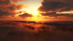 fly in clouds sunset 4k