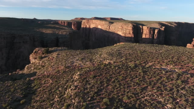 "Fly out to Grand Canyon LOW 4k, Drone aerial view Grand Canyon Nation park ""Little"" like marble canyon and glen canyon. Located in arizona and utah desert with beautiful morning and evening light"