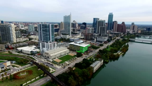 fly over aerial austin texas skyline cityscape capital cities over town lake december 2015 - december stock videos and b-roll footage
