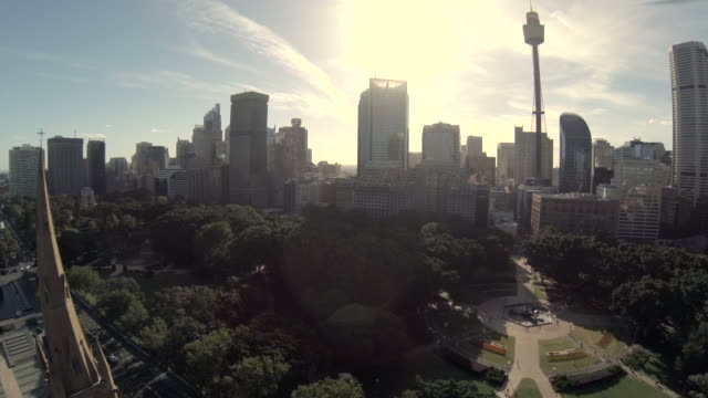 Fly over Cathedral in Sydney to Hyde Park