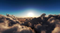 fly over clouds in sunset 4k