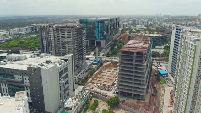 Fly over construction buildings & apartments