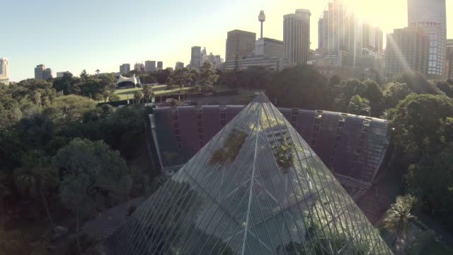 fly over glass pyrimid / green house - formal garden stock-videos und b-roll-filmmaterial