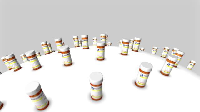 Fly over many Pill Bottles around globe
